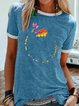 Printed Short Sleeve Round Neck Casual Shirts & Tops