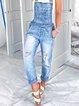 Light Blue Casual Denim Ripped Pants
