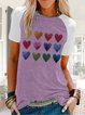 Casual short sleeve round neck printed stitching top
