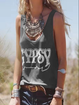 Black Crew Neck Sleeveless Cotton Shirts & Tops