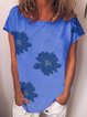Blue Cotton-Blend Simple Printed Round Neck Shirts & Tops