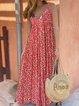 Floral Printed Casual Sleeveless V-neck Midi Dress