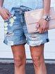 Blue Denim Casual Printed Pants