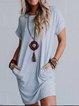Light Gray Solid Short Sleeve Cotton Round Neck Dresses