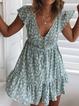 Plus size Boho V Neck Floral Dresses