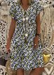 Yellow Frill Sleeve V Neck Floral Dresses
