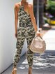 Camouflage Printed Sleeveless Pockets Casual Jumpsuits