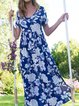 Floral Pockets Maxi Dress Summer Plus Size Short Sleeve Dresses