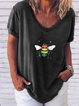 Plus size Short Sleeve Casual V Neck Shirts & Tops
