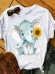 Plus Size Crew Neck Vintage Short Sleeve Shirts & Tops