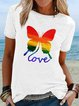 Color butterfly short sleeve round neck T-shirt