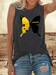 Dark grey round neck casual butterfly print T-shirt