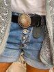 Blue Pockets Casual Cotton-Blend Pants