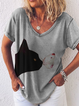 Plus size Short Sleeve Printed Shirts & Tops