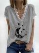 Star Printed Casual V-neck Short Sleeve T-shirt