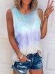 Sleeveless Casual Gradient Shirts & Tops