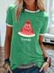 Watermelon printed casual oversized T-shirt