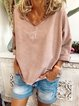 Casual printed loose v-neck top