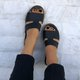 Black Leather Flat Heel Daily Slippers