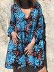 Women Floral  V-Neck Fringed-Tie Casual Dresses