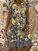 Yellow Floral-Print Short Sleeve Holiday Dresses