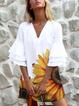 White V Neck Frill Sleeve Dresses