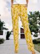 Yellow Drawstring Casual Shift Leaves Pants