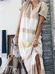 Khaki Short Sleeve Color-Block V Neck Maxi Dresses