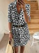Leopard 3/4 Sleeve Casual Dresses