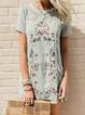 Lightgreen Short Sleeve Crew Neck Cotton Dresses