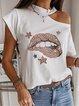 Star & Leopard Printed Cutout Short Sleeve T-shirt