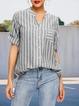 Zebra-Stripe Long Sleeve Casual Cotton-Blend V Neck Shirts & Tops
