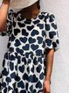 Casual Floral Short Sleeve Shift Dresses