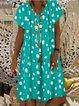 Short Sleeve Holiday V Neck Polka Dots Dresses