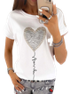 White Printed Short Sleeve Cotton-Blend Shirts & Tops