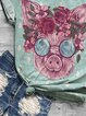Flower pig printed casual short sleeve round neck T-shirt