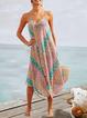 Holiday Multicolor Print Off Shoulder Sling Dress