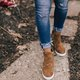 Wedge Heel Leather Sneakers