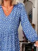 Women Caftan Printed V-Neck Casual Midi resses