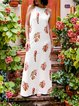 Tropical Print Elegant Halter Sleveeless Maxi Dress