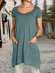 Green Cotton-Blend Crew Neck Short Sleeve High Low Shirts & Tops