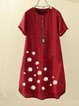 Fuchsia Round Neck Floral Casual Cotton Dresses