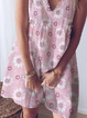 Pink V Neck Floral Cotton Short Sleeve Dresses