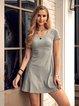 Gray Casual U-Neck Cotton Dresses