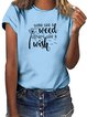 Vintage Short Sleeve Dandelion Letter Printed Crew Neck Plus Size Casual Tops