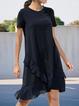 Black Plain Shift Casual Dresses