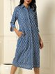 Indigo Polka Dot Block Print Cotton Midi Shirt Dress