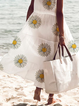 White Casual Floral V Neck A-Line Dresses