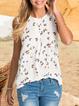 V Neck Cold Shoulder Floral Shift Shirts & Tops
