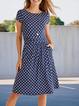 Navy Blue Crew Neck Cotton-Blend Casual Polka Dots Dresses